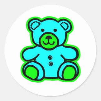 Teddy Bear Green Cyan The MUSEUM Zazzle Gifts Round Sticker