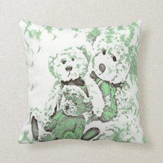 Teddy Bear Green Pillow Throw Cushion