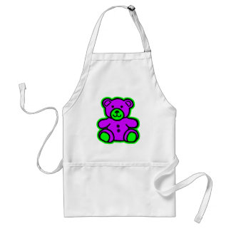 Teddy Bear Green Purple The MUSEUM Zazzle Gifts Aprons