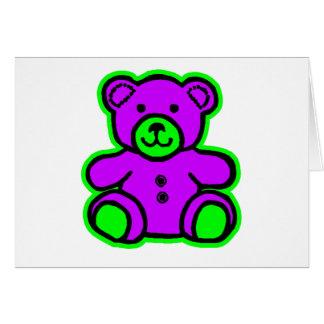 Teddy Bear Green Purple The MUSEUM Zazzle Gifts Card