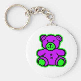 Teddy Bear Green Purple The MUSEUM Zazzle Gifts Key Chain
