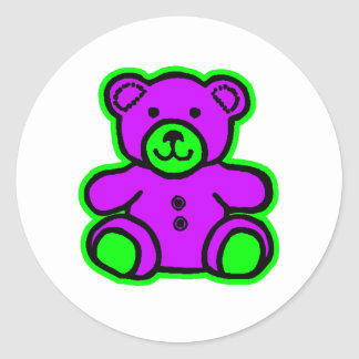 Teddy Bear Green Purple The MUSEUM Zazzle Gifts Round Stickers