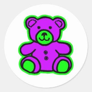 Teddy Bear Green Purple The MUSEUM Zazzle Gifts Stickers