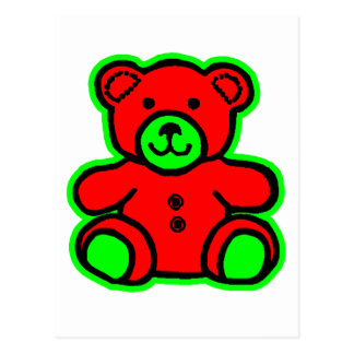 Teddy Bear Green Red The MUSEUM Zazzle Gifts Post Cards