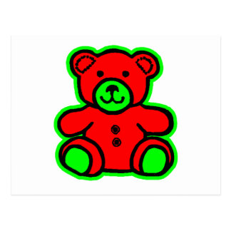 Teddy Bear Green Red The MUSEUM Zazzle Gifts Post Card