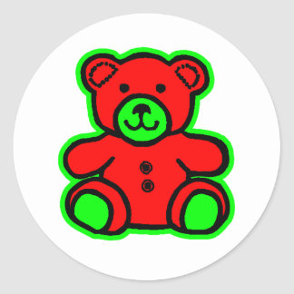 Teddy Bear Green Red The MUSEUM Zazzle Gifts Round Sticker