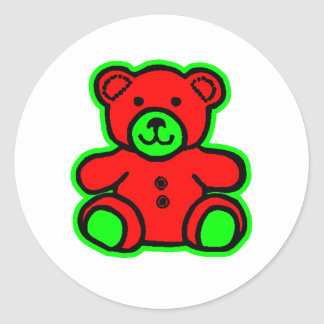Teddy Bear Green Red The MUSEUM Zazzle Gifts Sticker