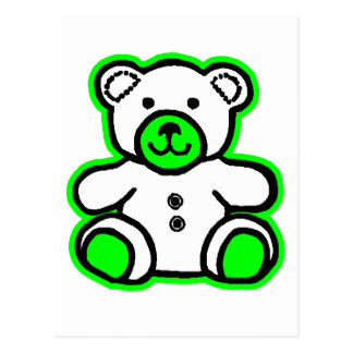 Teddy Bear Green White The MUSEUM Zazzle Gifts Post Card