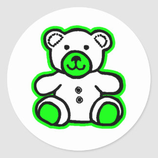 Teddy Bear Green White The MUSEUM Zazzle Gifts Stickers