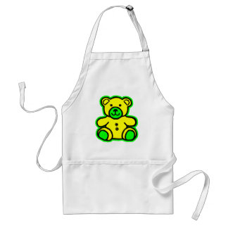 Teddy Bear Green Yellow The MUSEUM Zazzle Gifts Apron
