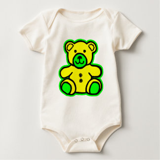 Teddy Bear Green Yellow The MUSEUM Zazzle Gifts Baby Bodysuit