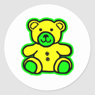 Teddy Bear Green Yellow The MUSEUM Zazzle Gifts Sticker
