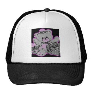 Teddy Bear Grey & Pink on Black Mesh Hat