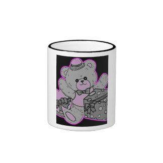 Teddy Bear Grey & Pink on Black Coffee Mugs