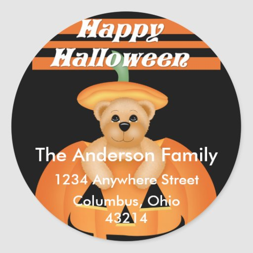 Teddy Bear Halloween Pumpkin Address Labels Sticker