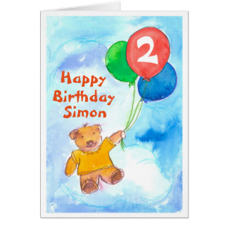 Teddy Bear Happy 2nd Birthday Custom Greeting Card
