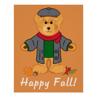 Teddy Bear Happy Fall Poster