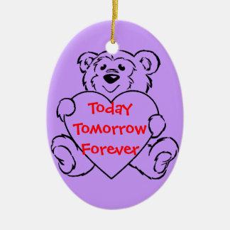 Teddy Bear Hearts Ceramic Oval Decoration