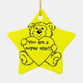 Teddy Bear Hearts Ceramic Star Decoration