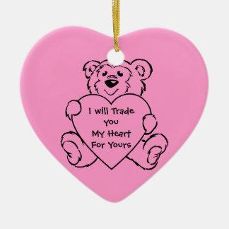 Teddy Bear Hearts Double-Sided Heart Ceramic Christmas Ornament