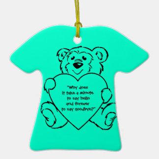 Teddy Bear Hearts Double-Sided T-Shirt Ceramic Christmas Ornament