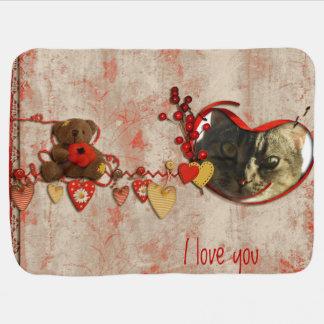 Teddy Bear & Hearts Scrapbook Style Photo Frame Baby Blanket