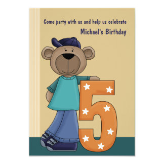 Teddy Bear Hip 5 Year Old - Birthday Party Invitat 13 Cm X 18 Cm Invitation Card
