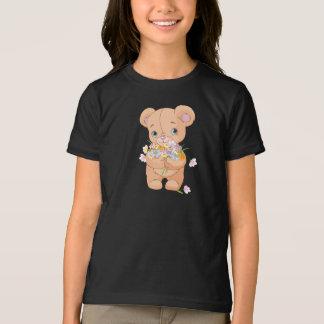 Teddy Bear Holding A Bouquet Girls T-Shirt