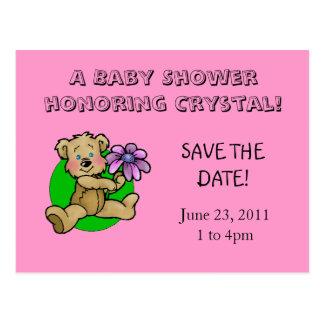 Teddy bear holding purple daisy save the date postcard