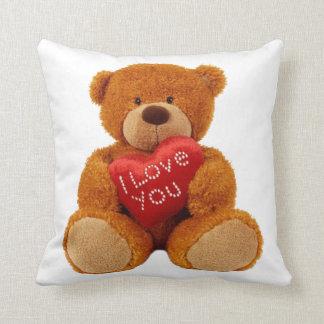 """Teddy bear holding with """"I LOVE YOU""""cushion. Cushion"""