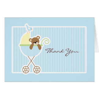 Teddy Bear in a Stroller Baby Shower Thank You Card