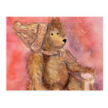 Teddy bear in cap and scarf post cards