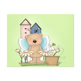 Teddy Bear in Garden Stretched Canvas Prints