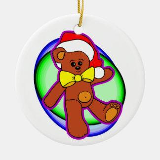 Teddy Bear In Santa Hat Christmas Ornaments