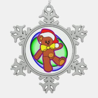 Teddy Bear In Santa Hat Pewter Snowflake Decoration