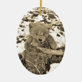 Teddy Bear in the Holly,Sepia tone Ceramic Ornament