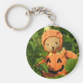 Teddy Bear in the Pumpkin Patch Basic Round Button Key Ring