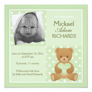 "Teddy bear ""It""s a boy"" announcement card"