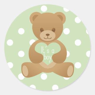 """Teddy bear """"It""""s a boy"""" green sticker"""