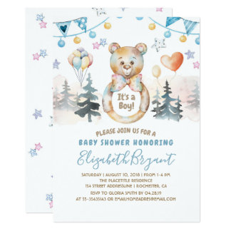 Teddy Bear - It's a Boy Baby Shower Card