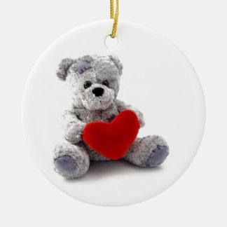 TEDDY BEAR LOVE HEART CERAMIC ORNAMENT