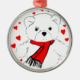 teddy bear love Silver-Colored round decoration
