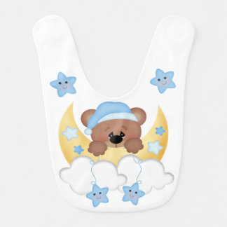 Teddy Bear Moon Star Babys Boy Woodland Animals Bib