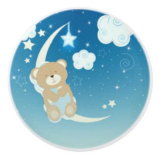 Teddy Bear Moon & Stars Cute Celestial Nursery Ceramic Knob