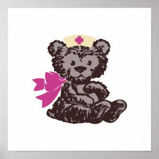 Teddy Bear Nurse (Pink) Print
