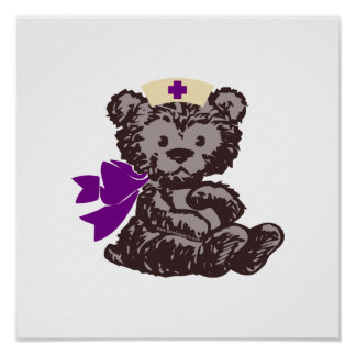 Teddy Bear Nurse (Purple) Posters