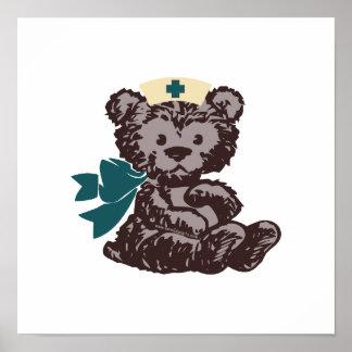 Teddy Bear Nurse (Teal) Poster