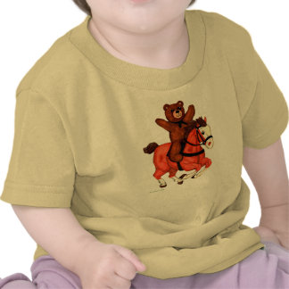 Teddy Bear on a Galloping Horse Baby Shirt