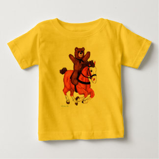 Teddy Bear on a Galloping Horse Baby Shirt