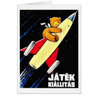 Teddy Bear On A Rocket Vintage Hungarian Toy Fair Card